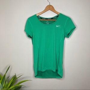 Nike Dri - Fit Running Green Short Sleeve Mesh Top